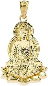 Fine 14k Yellow Gold Buddha on a Lotus Flower Pendant
