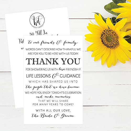 50 Wedding Thank You Place Cards, Rehearsal Dinner Thank You Table Sign, Menu Place Setting Card Notes, Placement Thank You Note Favors For Family & Guests Photo #3