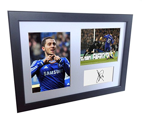 Signed Black Soccer Eden Hazard Chelsea Autographed Photo Photographed Picture Frame A4 12x8 Football Gift