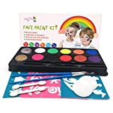 Maydear Face Paint Kit for Kids with Safe and None Toxic FDA Compliant Water Based 10Color Palette+2 Glitters