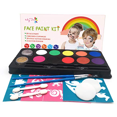 Maydear Face Body Paint Kits for Kids - 10 Colors Gold & Silver Glitter 5 Sets Stencils ()