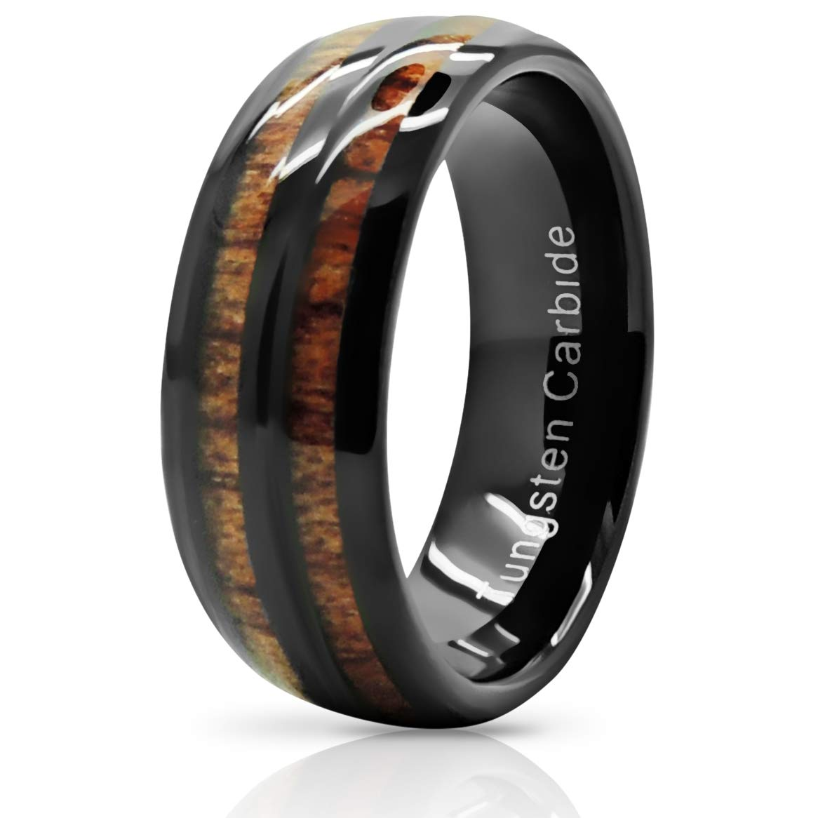 Atomic Jewelry Split Tungsten Carbide Wedding Band Ring with Real Koa Wood Inlay product image