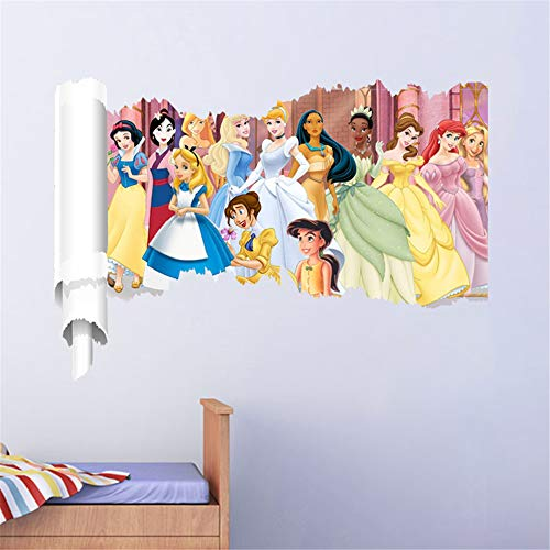 ufengke Princess Wall Stickers 3D Scroll Wall Decals Art Decor for Girls Kids Bedroom Nursery