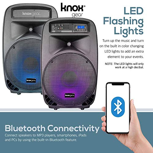 Knox Dual 15'' Speakers, 600 Watt - 8 Piece Portable PA System - Microphone, Tripods, Remote Control - Bluetooth, USB, SD Card, RCA and 1/4'' Inputs - Colorful LED Lights by Knox Gear (Image #4)