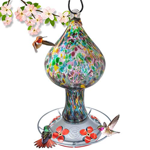 Hummingbird Feeder - Hand Blown Glass - Tall Mushroom