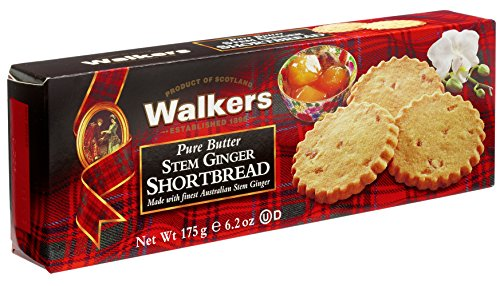 Walkers Shortbread Stem Ginger Shortbread, 6.2-Ounce Boxes (Pack of 4) Traditional & Simple Pure Butter Scottish Shortbread Cookies With Australian Stem Ginger, No Artificial Flavors