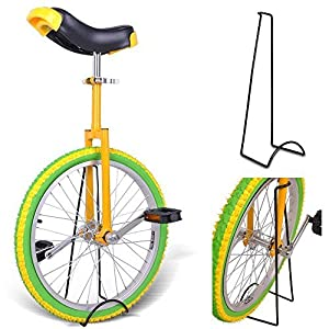 "20"" Inches Wheel Skid Proof Tread Pattern Unicycle W/ Stand Uni Cycle Bike Cycling YELLOW GREEN"