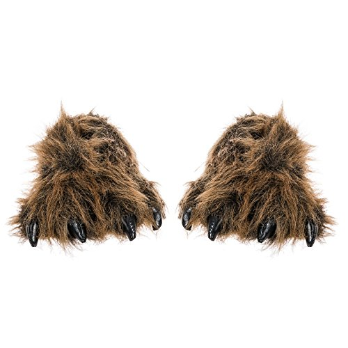 Grizzly Bear Costumes (Wishpets Grizzly Bear Paw Slippers w/ Black Claws (Brown, Large))