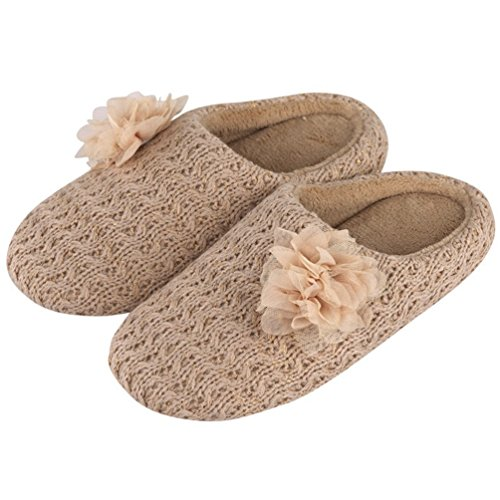 YUTIANHOME Women's Slippers Knitted Cotton Flat Washable Soft Warm Non-Slip Flat Cotton Closed Toe Indoor Home Bedroom Shoes B077RML3K6 Shoes 2f022a