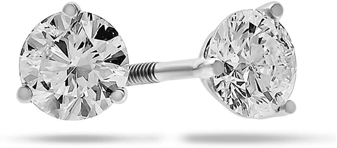 Oval Stud Earrings 2.0 ct Solid 14k White Gold Screw Back Jewelry for Girls