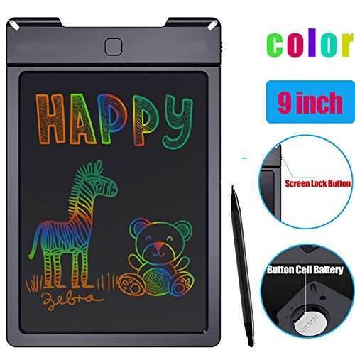 LCD Writing Tablet 9.0-inch Writing Drawing Board Colorful Display Drawing Doodle Writing Pad Electronic Graphic Drawing Tablet for Childrens Kids Gifts,Elder Message Board,Family Memo and Office