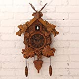 Wall Clocks European Deer Heads Out Of The Window Of Time Clock Cuckoo Clock Wall Clock 20 Inch,A