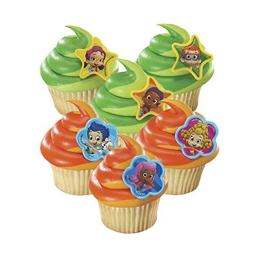 New Bubble Guppies 24 Cupcake Rings Party Favors -