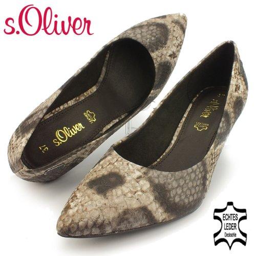 s.OLIVER Damen Pumps, Snake / Reptilprint, Decksohle Leder, beige