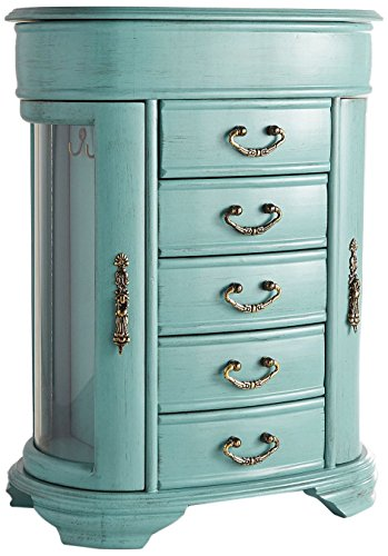Hives & Honey Daphne Oval Glass Turquoise Jewelry Chest Jewelry Organizer Box Case Mirrored Storage - Floral Jewelry Armoire