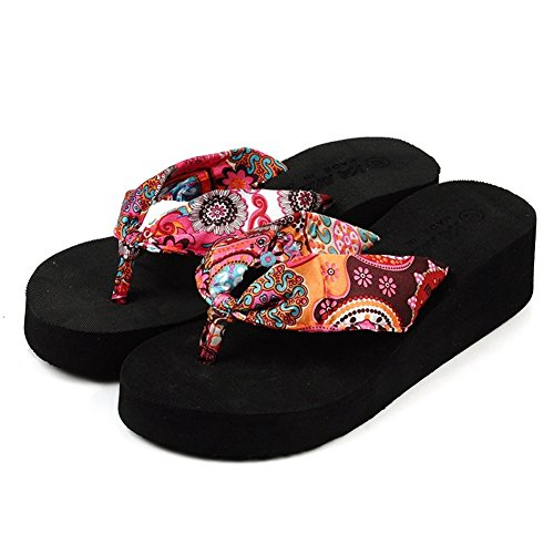 CYBLING Fashion Bohemia Low Wedge Flip Flops Sandals for Women Outdoor Casual Platform Slippers (Flip Wedge Flop Low)