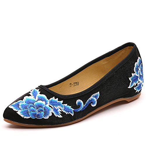 Ballet Toe Women Retro Fabric Shoes Black Floral Embroidered Flats Veowalk Cotton Pointed Casual Ladies zRaIdIqX