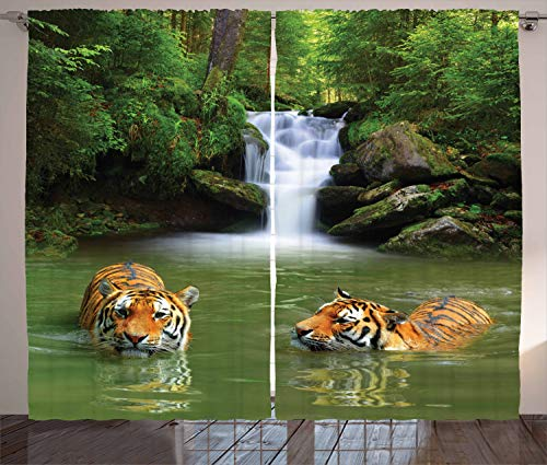 Ambesonne Safari Curtains, Siberian Tigers in Water Waterfall Pool Woodland Swimming Natural, Living Room Bedroom Window Drapes 2 Panel Set, 108 W X 84 L Inches, Green ()