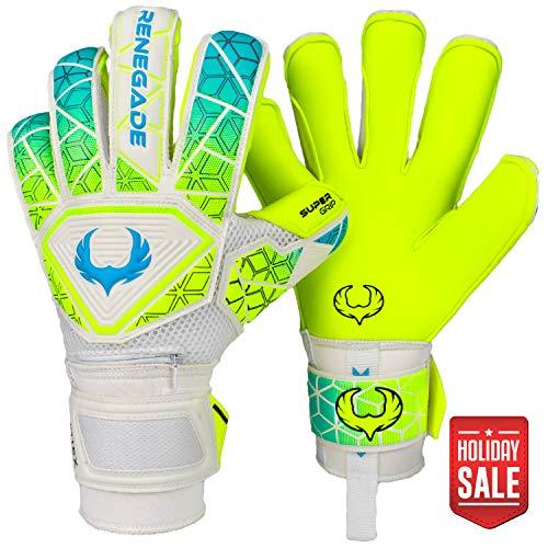 Renegade GK Vortex Wraith Roll-Hybrid Cut Level 3 Adult & Youth Soccer Gloves Goalkeeper with German Hypergrip Palms - Junior Soccer Goalie Gloves 7 Size White, Neon Yellow, Blue