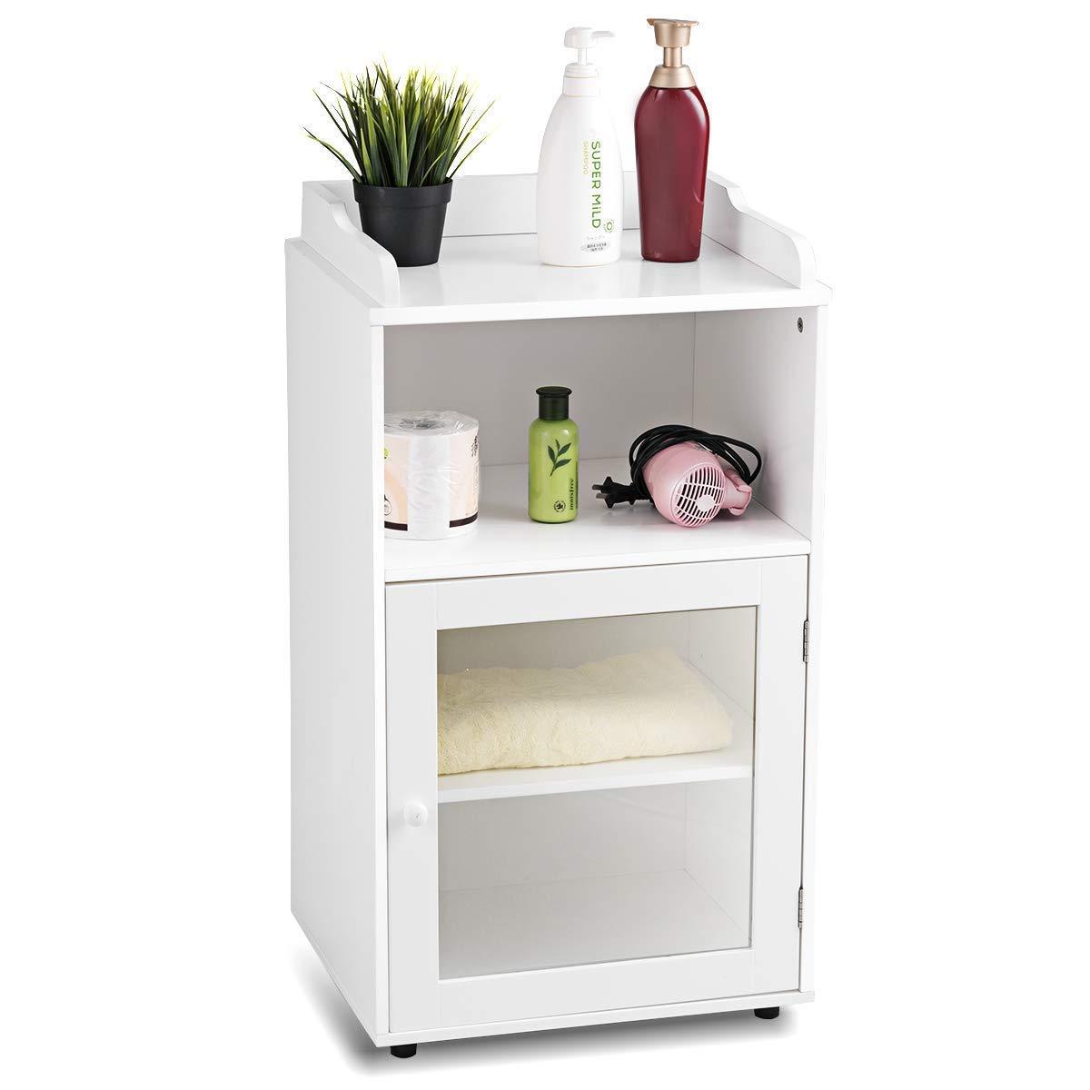Tangkula Bathroom Floor Cabinet, Wooden Storage Cabinet for Home Office Living Room Bathroom, W/Tempered Glass Door Adjustable Shelf Organizer, White