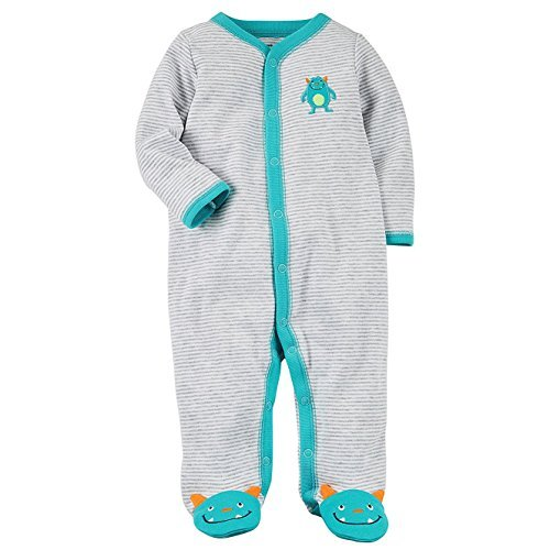 (Carter's Baby Boys' Baby Boys Striped Snap up Monster Cotton Sleep and Play 9 Months)