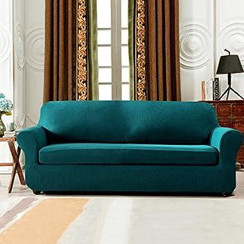 Subrtex 2 Piece Spandex Stretch Slipcover (Sofa, Blue)