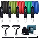 Letsfit Resistance Bands Set, Exercise Bands with Handles, Training Tubes with Door Anchor & Ankle Straps for Resistance Training, Physical Therapy, Home Workout, Yoga, Pilates Stackable up to 150 lb