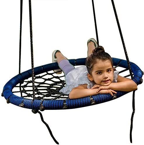 Big Elephant Play Spider Web Tree Swing – Fully Assembled – Outdoor Round Net 31 inch Diameter Rope Swing – 71 inch Rope Max 600 Lbs Attaches to Trees Swing Sets Fun for Multiple Kids or Adult Blue