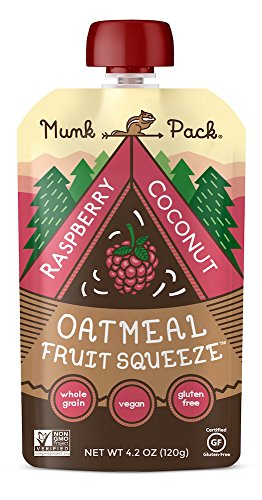 Munk Pack Oatmeal Fruit Squeeze | Raspberry Coconut, Ready-to-Eat Oatmeal On The Go, 4.2 oz Pouch, 6 Pack