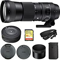 Sigma 150-600mm F5-6.3 DG OS HSM Zoom Lens Contemporary for Sigma DSLR Cameras (745-110) with Sigma USB Dock for Sigma Lens & Lexar 32GB Professional 1000x SDHC Class 10 UHS-II Memory Card