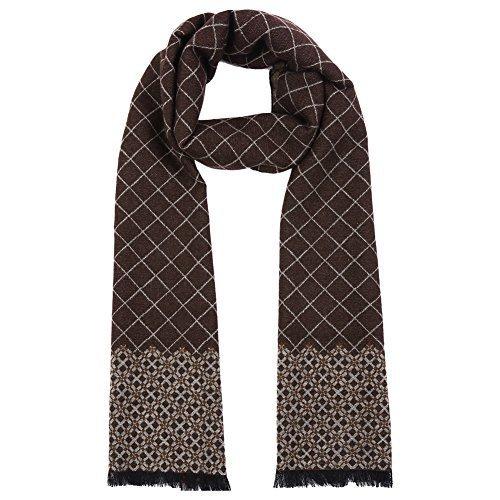Vbiger Men Classic Plaid Scarf Soft Winter Scarf Double Sided Winter Warm Scarf Long Neckwear (Coffee)