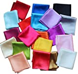 Lakikey 12 Pcs Men's Polyester Silk Satin Pocket Square Handkerchief Hanky For Wedding Party Banquet