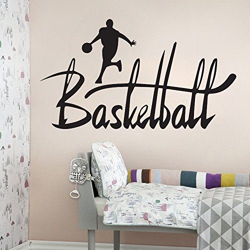 Amaonm® Removable Black Vinyl DIY Basketball Players Dribble With Word Lettering Creative Arts