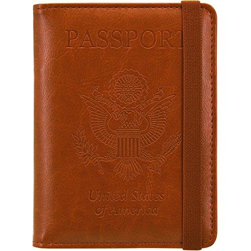KINGMAS Passport Holder Cover, Travel Passport Wallet - Safety RFID Blocking - Brown