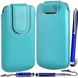 N4U Online Premium PU tirón del cuero del tirón del caso Tab cubierta de bolsa con correa de cierre magnético y 3 Pack Stylus Bundle para el Apple iPhone 4S - Azul Bebé