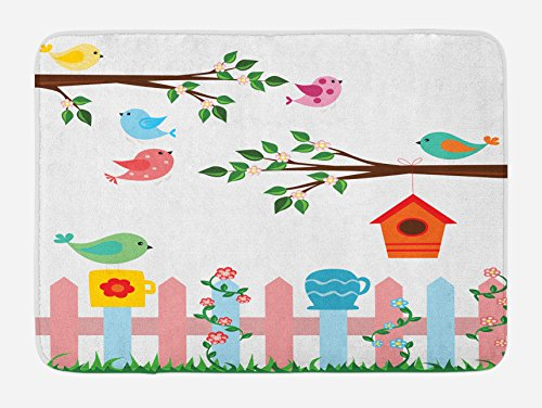 Lunarable Birds Bath Mat, Pastel Colored Birds in the Yard with Birdhouses Trees and Fence Colorful Cartoon, Plush Bathroom Decor Mat with Non Slip Backing, 29.5 W X 17.5 W Inches, Multicolor