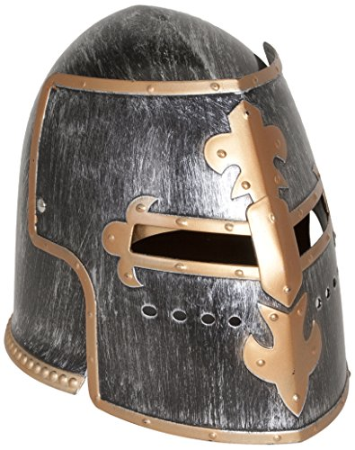 Armor Medieval Helmet - Jacobson Hat Company Men's Antiqued Pewter Knight Helmet, Silver, Adult
