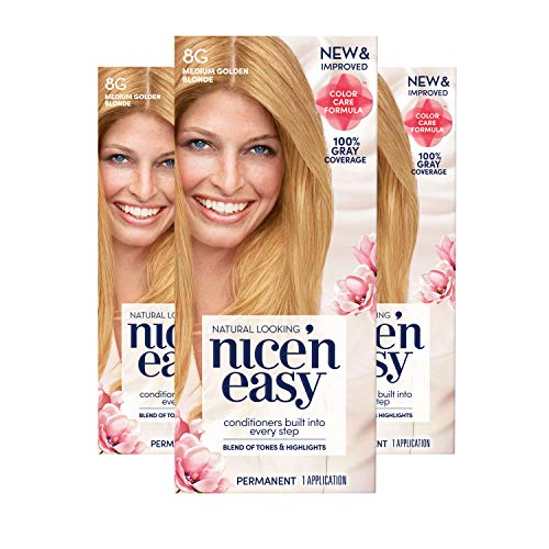 Clairol Nice'N Easy Crème 8G Medium Golden Blonde (3 Kits)