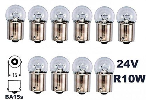 24 Volt - 10 Stü ck - R 10W - BA15S - 10Watt - Nfz LKW Beleuchtung - Glü hlampe, Glaslampe, Glü hbirne, Soffitte, Lampen. Mit E-Prü fzeichen und ist fü r den Straß enverkehr zugelassen. INION®