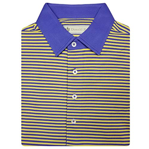 Donald Ross Mens Short Sleeve 2 Color Bold Stripe Golf Polo Pique on Solid Self Collar - Admiral Blue/Pumpkin with Added Wicking Power Material (Blue Iris/Lemon, XL)