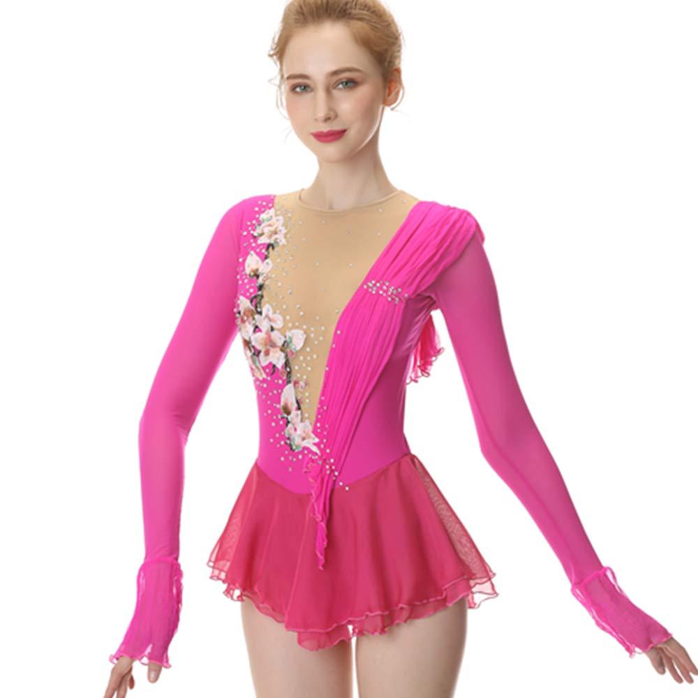 Pink Figure Skating Dress,Long-Sleeved Ice Skating Skirt,Spandex Competition Dresses Mesh Skirt