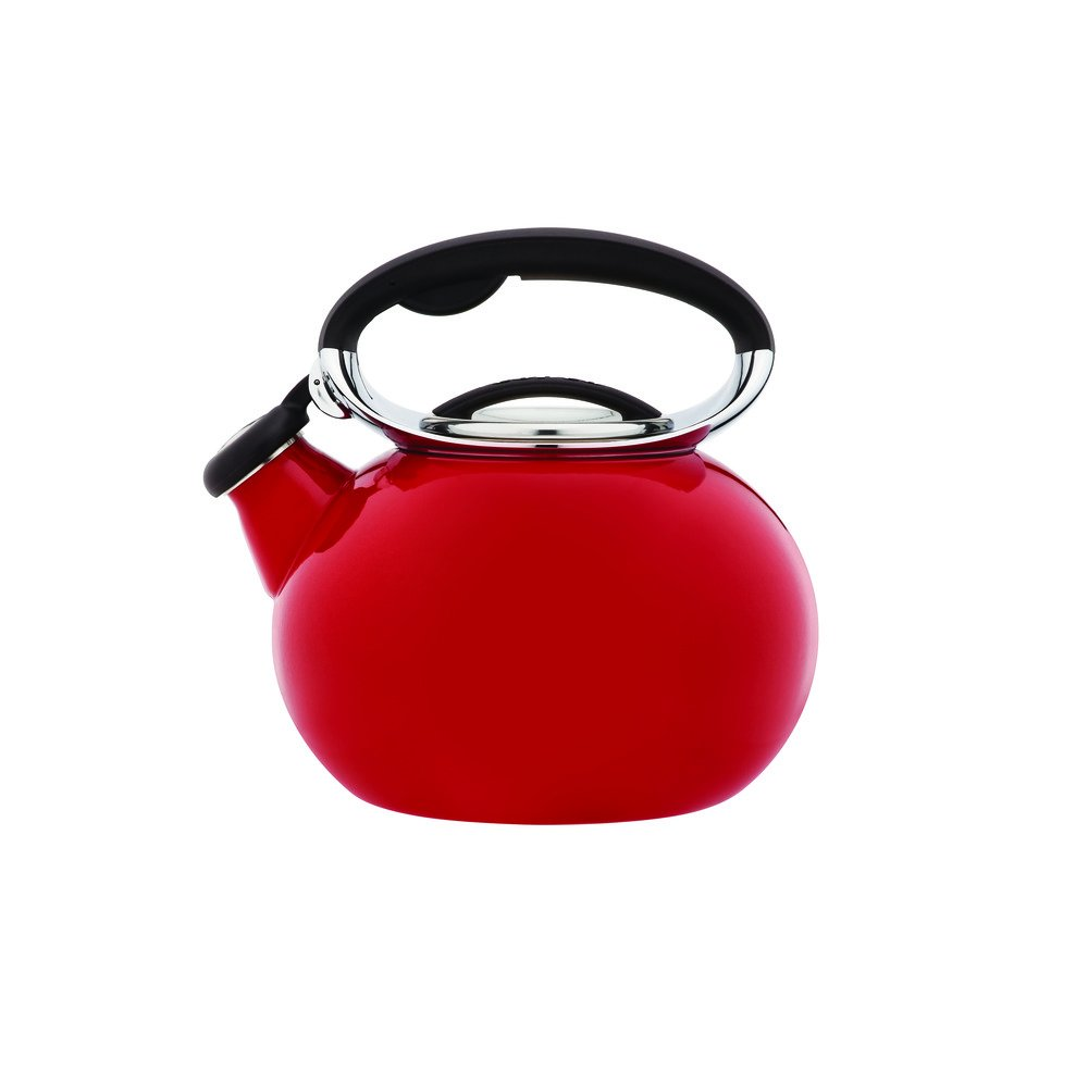 Copco 5193854 Ellipse Enamle On Steel Tea Kettle, 2-Quart, Red