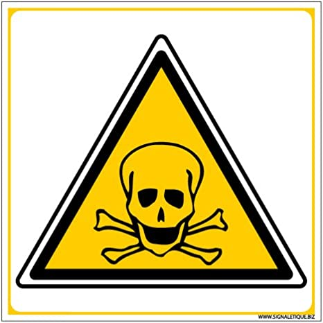 Protection Anti-UV Danger de Mort Plastique rigide PVC 1,5 mm Panneau Double Face Autocollant au Dos Dimensions 250 x 250 mm
