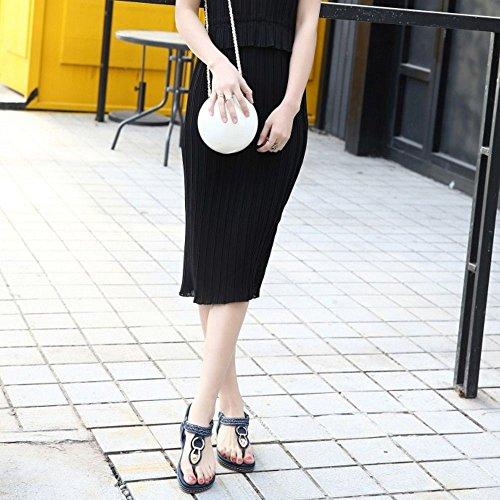 COOLCEPT Mujer Moda Clip Toe Sandalias Slingback Elastico Zapatos Azul
