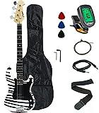 Crescent Electric Bass Guitar Starter Kit - Zebra Print Color (Includes CrescentTM Digital Tuner)