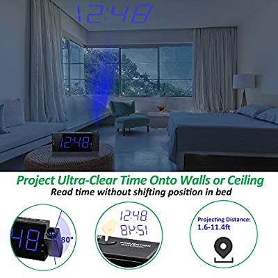 Projection Alarm Clock, Digital Clock, 7'' Large Display with Dimmer, Adjustable Alarm Volume, DST, Dual Alarm with USB Port, 12/24 H, Battery Backup for Bedrooms, Ceiling, Wall, Kitchen, Home, Desk