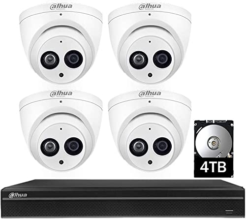 Dahua Security Cameras System,8 Channel Poe Network Video Recorder NVR with 6MP 3072×2048 Indoor Outdoor Waterproof CCTV IP Cameras IPC-HDW4631C-A 2.8mm 4 Camera System, Build-in HDD 4TB
