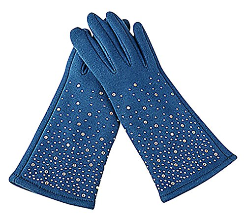 ALLEGRA Women Solid Color Cashmere Beaded Fancy Touchscreen Driving Gloves, DeepBlue (Fancy Dress Boxing Gloves)