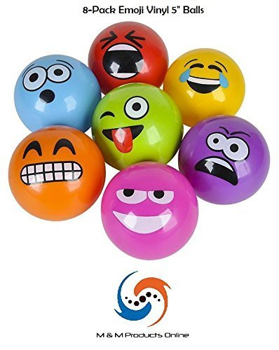 8-PACK of 5'' Emoji Vinyl Playground Balls by M & M Products Online