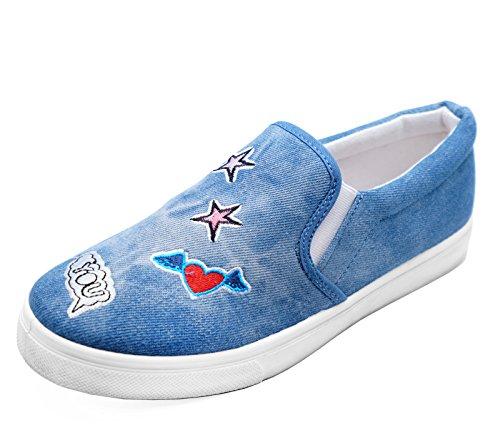 Stonewash Slip Bequeme On Blue 3 Lässige Schuhe Damen Turnschuhe HeelzSoHigh Flache 8 Größen Plimsoll Pumps ERIqX